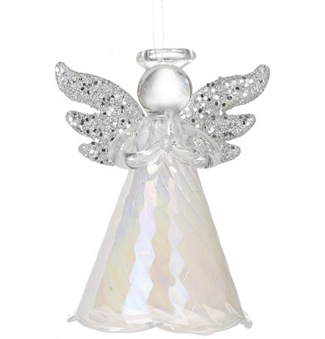 A stunning glass angel featuring silver glitter wings and a rippled skirt