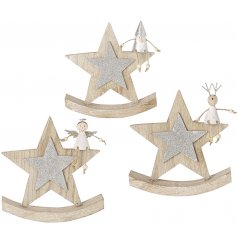 A cute mix of rocking stars made from natural wood,  items can be added to any themed home at Christmas Time