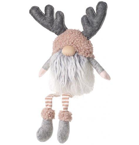 Gonk with Long Legs - Grey Beard & Antlers - Large