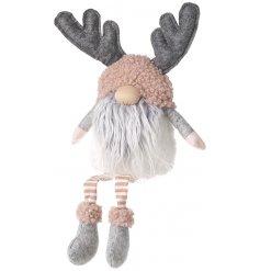 Large Long Leg Gonk Grey Beard & Antlers