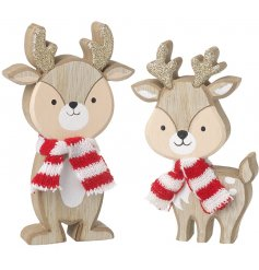 Wooden Reindeer with red and white scarf