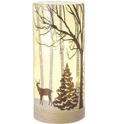 A stunning glass display set upon a natural wood base, featuring a beautiful winter woodland scene