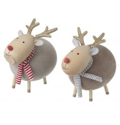 Sure to bring a cute woodland feel to your home this festive season, a mix of plump wood reindeers with glitter accents