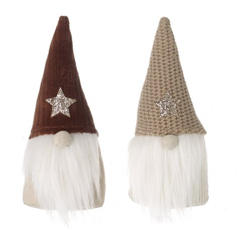A mix of 2 fabric gonks with knitted hats and Faun colour tones, trendy characters for any home