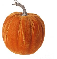 A stylish and unique velvet pumpkin in a luxurious orange hue.