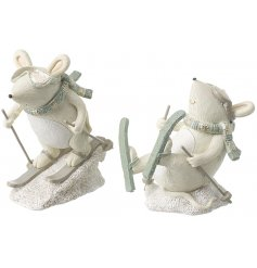 A mix of 2 skiing mice ornaments in pastel colours. Beautifully detailed and unique in design. A must have seasonal item