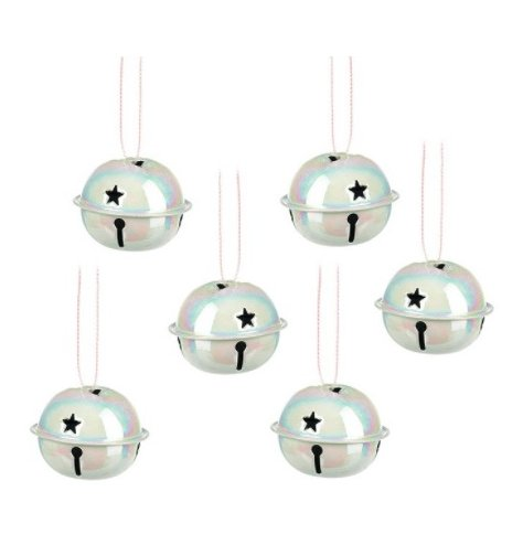 A set of shimmering iridescent bells. Each has a star detail and hanger.