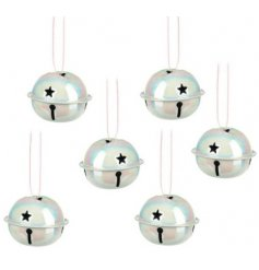 A set of 6 white iridescent hanging bells, each with star shaped details.