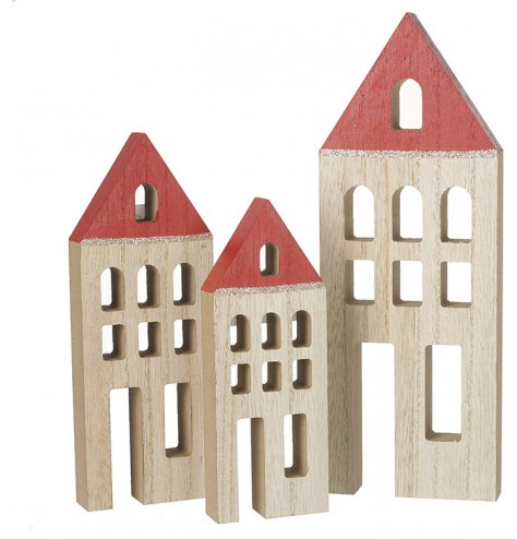 A set of 3 contemporary wooden houses, each with a red roof and festive silver glitter trim.
