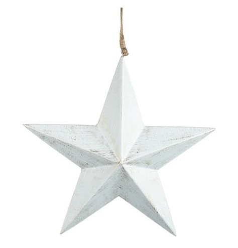 A chic wooden star decoration with a distressed finish and jute hanger.