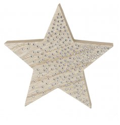A chic wooden star decoration with sparkling silver studs.
