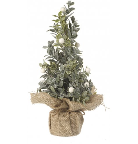A rustic artificial tree with white berries and a touch of glitter. Set within a charming hessian sack.
