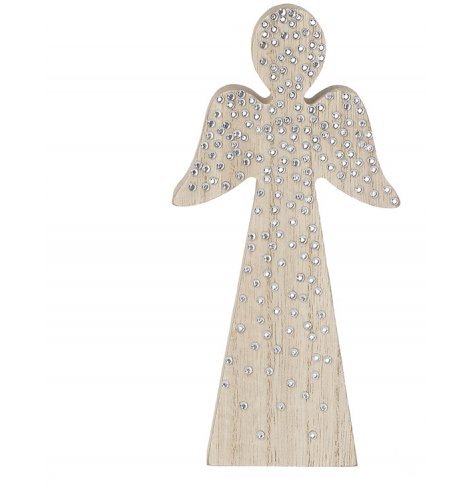 A chic wooden angel decoration adorned with cascading silver sequins.