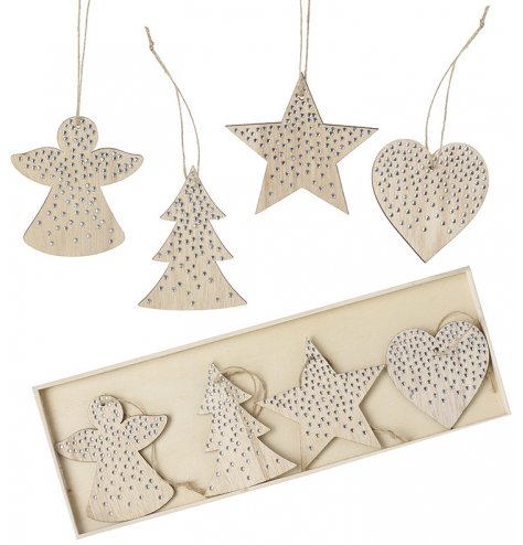 A set of chic wooden hanging decorations in angel, tree, star and heart designs.