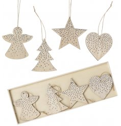 A set of on trend wooden hanging decorations, each with silver studs. The set includes heart, star, tree and angels