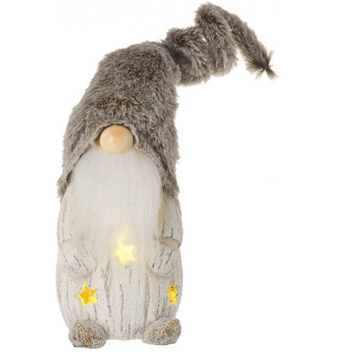 A resin based gonk figure with a faux fur hat and warm glowing LED lights from inside