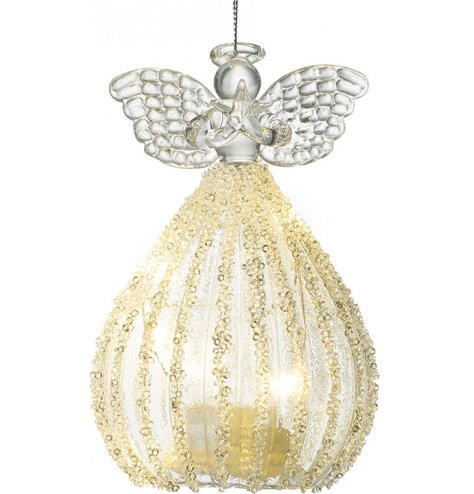 An elegant hanging glass angel ornament with a beaded dress and added LED skirt feature