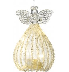 A stunning glass angel hanging decoration complete with spread wings, a ballgown dress and warm glowing LED display