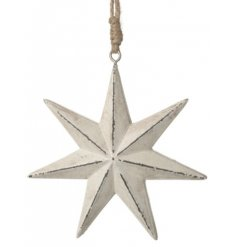 A rustic inspired 7 point star with a chunky string for hanging