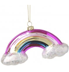 A fun themed rainbow bauble decoration with added glittery clouds!