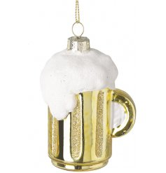 A frothy beer glass hanging decoration complete with glittery touches