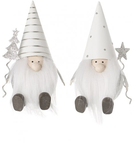 A mix of sitting metal gonks, both complete with festive white and silver patterns and festive accents