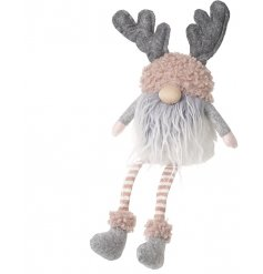 Sure to bring a hint of blush to any home space at Christmas! A shelf sitting plush gonk with antlers and fuzzy trimming