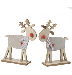 Delightful accessories to bring to any cosy home at Christmas Time, a mix of wooden reindeer figures set with pompom no