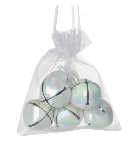 An organza bag filled with simple jingling bells, each coated with an Iridescent colouring