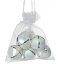 An organza bag filled with iridescent toned jingling bells