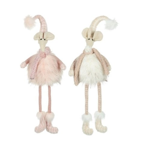 A mix of plush shelf sitting mice figures, complete with faux fur trims and blush pink tones