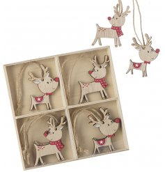 A festive mix of carton inspired wood reindeer hangers each complete with traditional red tones