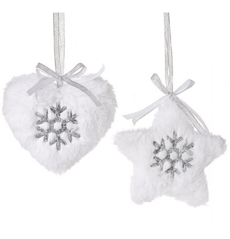 A mix of plush hanging star and heart decorations, covered with white faux fur trims and hung from organza ribbon