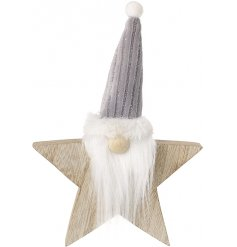 A fun character decoration to add to the home during the christmas period, a wood star combined with a funky gonk
