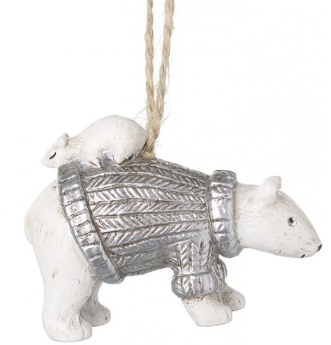 A polyresin polar bear hanger complete with a silver knitted jumper and perched mouse on his back