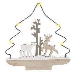 A beautifully simple themed wooden tree decoration complete with a woodland central scene and surrounding LED Lights