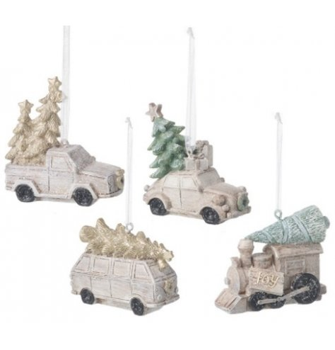 A mix of hanging vehicles each sprinkled with a subtle glitter and set with simple tones