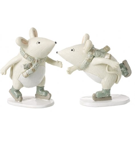 A festive mix of posed mice in skating positions, perfectly complete with glittery touches