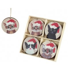 Set Of 8 Wooden Cats In Hats Baubles