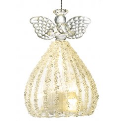 Light Up Glass Hanging Angel Christmas Decoration