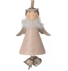 Wooden Hanging Angel Decoration With Bells