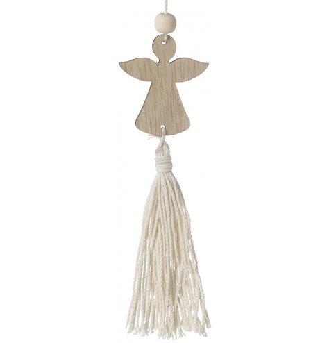 A boho inspired hanging wooden angel decoration complete with a long string tassel