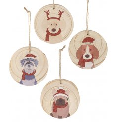 A festive mix of hanging wooden decorations, each set with a printed dog illustration