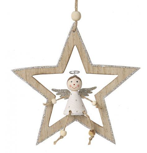 A hanging wooden star complete with a posed angel sitting in the centre
