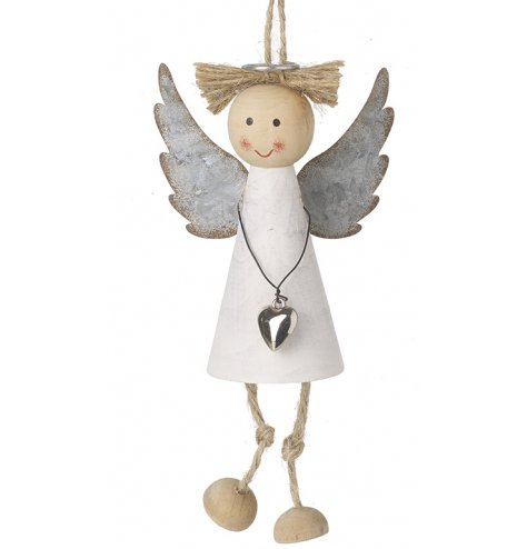 A rustic set hanging angel decoration with metal wings and a jute string for hanging
