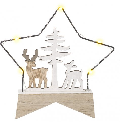 A gorgeously set Half Wood, Half Wire Star with entwined led lights and a charming reindeer cut central scene