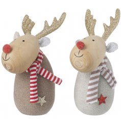 A mix of festive themed wooden reindeer characters, complete with glittery antlers and knitted scarves