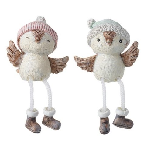 A mix of festive themed shelf sitting owl figures complete with grey and pink hats for charm