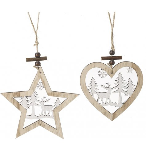 A stunning mix of natural wood and white toned star and hear hangers, beautifully detailed with a woodland scene in the