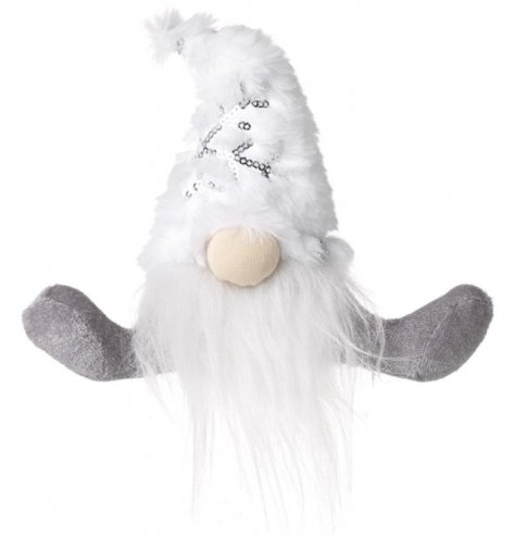 A sitting fabric gonk with a fuzzy white fabric hat and long grey toned legs